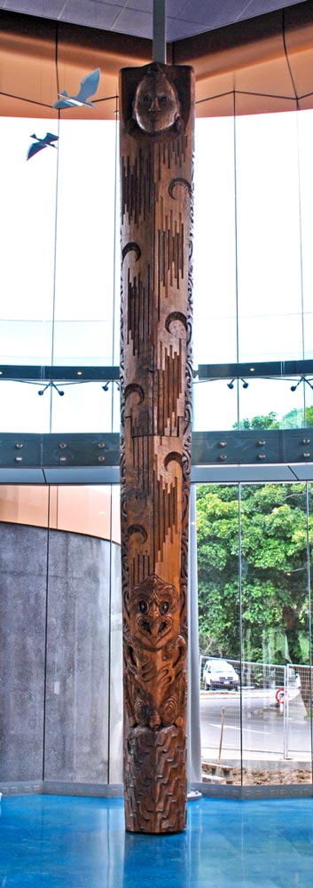Full view of pou at the recent Te Ahu Centre opening